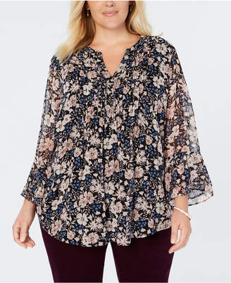 Charter Club Plus Size Pintuck-Pleat Floral-Print Top