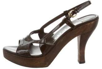Burberry Patent Leather Platform Sandals