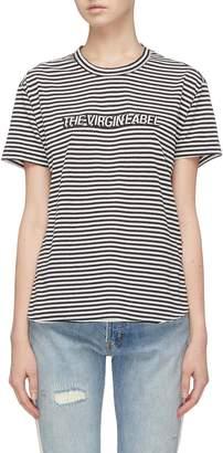 Sandrine Rose 'The Two Hundred' slogan appliqué stripe T-shirt