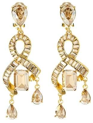 Oscar de la Renta Crystal Chandelier Clip On Earrings