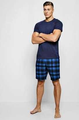 boohoo Short Sleeve Tee With Check Shirt Pyjama Set
