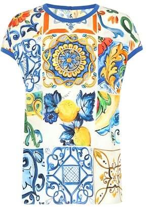 Dolce & Gabbana Majolica silk-blend T-shirt