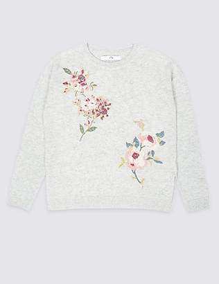 Marks and Spencer Floral Embroidered Jumper (3-16 Years)