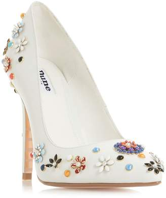 Dune Booquet Flower Embellished Court Shoes