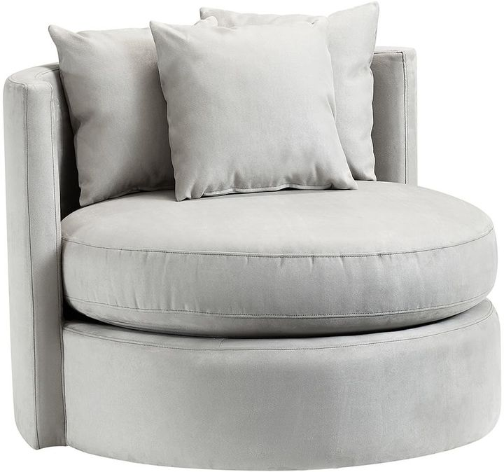 Round About Chair, Light Gray Suede
