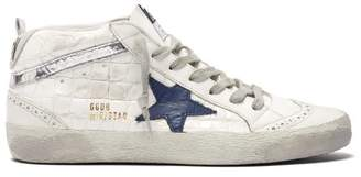 Golden Goose Mid Star Croc Embossed Leather And Suede Trainers - Womens - White