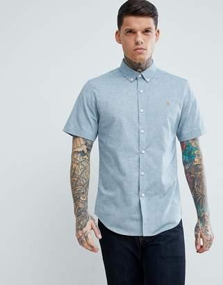 Farah Steen Slim Fit Short Sleeve Textured Oxford Shirt in Gray