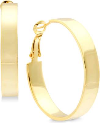 Essentials Medium Polished Flat Hoop Earrings in Gold-Plate