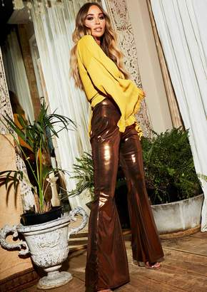 6768eb5387e8 Missy Empire Missyempire Kiki Bronze High Waist Flare Trousers