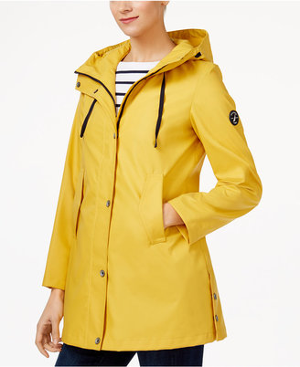 Nautica Hooded Water-Resistant A-Line Raincoat $150 thestylecure.com