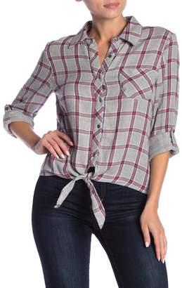Dress Forum Plaid Tie Front Button Down Shirt