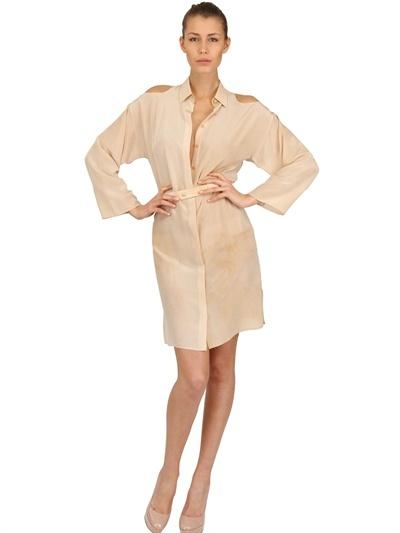 Versace Cut Out Tie Dyed Crepe De Chine Dress