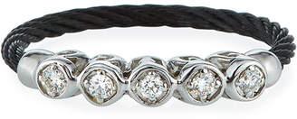 Alor Cable & 5-Diamond Bezel Ring in Black Size 6.5