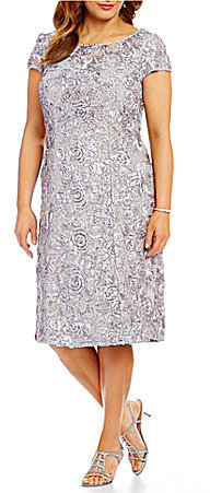 Alex Evenings Alex Evenings Plus A-Line Cap Sleeve Rosette Dress