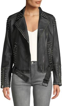 Dex Studded Asymmetric Belted Moto Jacket