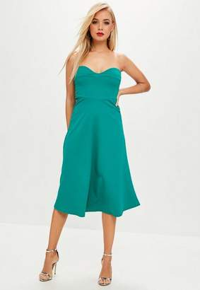 Missguided Green Teal Sweetheart Bandeau Midi Skater Dress