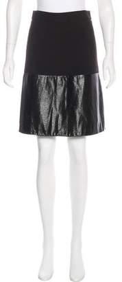 L'Agence Vegan Leather-Trimmed Pencil Skirt