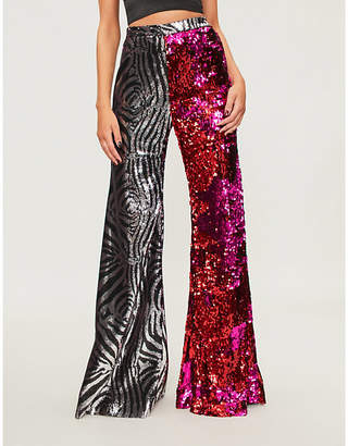 HALPERN Flared sequinned trousers