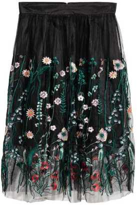 H&M Embroidered Mesh Skirt