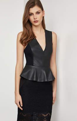 BCBGMAXAZRIA Faux Leather Peplum Bodysuit