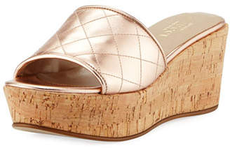 Sesto Meucci Tarie Quilted Metallic Leather Wedge Slide Sandal