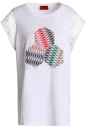 Missoni Crochet Knit-Trimmed Appliquéd Cotton-Blend Jersey Top