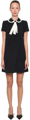 RED Valentino CONTRASTING BOW CREPE MINI DRESS