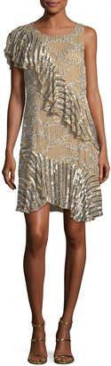 Neiman Marcus Parker Black Vivica Metallic One-Shoulder Dress