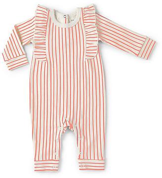Stripes Away Ruffle Romper - Dark Pink - Pehr