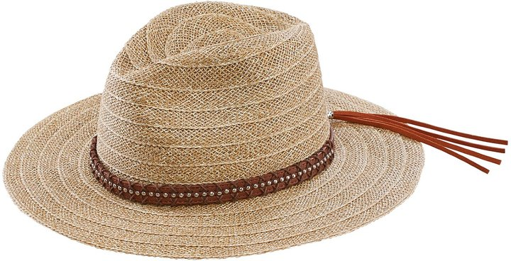 San Diego Hat Company Natural Straw Leather Trimmed Wide Brim Fedora