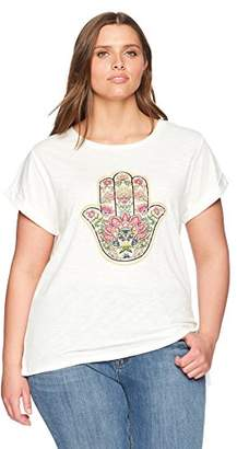 12fa7f3294f Democracy Women s Plus Size Hamsa Embroidered TEE