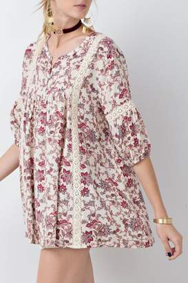Easel Floral Babydoll Tunic