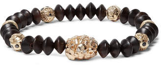 Luis Morais Wood and Gold Bead Bracelet - Men - Dark brown