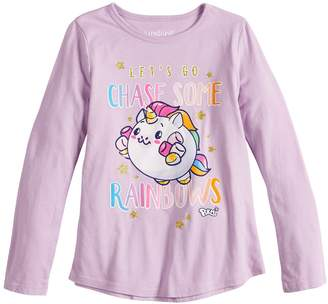 """Girls 4-10 Jumping Beans """"Let's Go Chase Some Rainbows"""" Glittery Graphic Tee"""