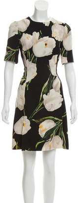 Dolce & Gabbana Wool Floral Print Dress