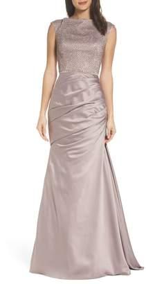 La Femme Embellished Bodice Trumpet Gown