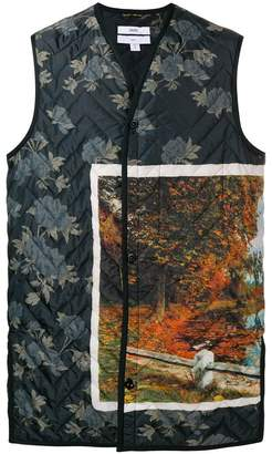 Oamc printed quilted gilet
