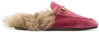 Gucci Pink Velvet & Fur Princetown Slippers