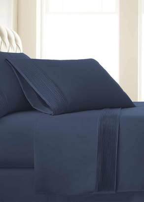 SOUTHSHORE FINE LINENS King Sized Premium Collection Double Brushed Extra Deep Pocket Pleated Sheet Set - Dark Blue