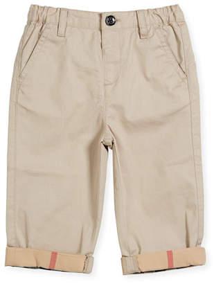 Burberry Ricky Cotton Pants w/ Check Trim, Gray, Size 6M-3Y