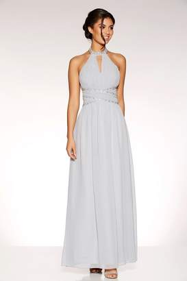 Quiz Grey Chiffon Embellished Keyhole Maxi Dress