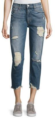 Mother Denim Sinner Slashed Straight Jeans, Ice Scream/You Scream $285 thestylecure.com