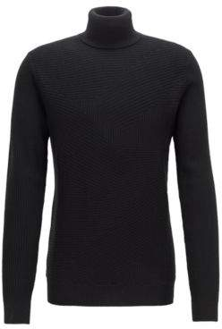 BOSS Hugo Turtleneck sweater in Italian merino wool rib patterns M Black