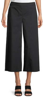 Eileen Fisher Organic Cotton Wide-Leg Cropped Pants, Petite