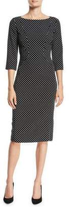 Michael Kors Boat-Neck 3/4-Sleeve Polka-Dot Stretch-Cady Sheath Dress