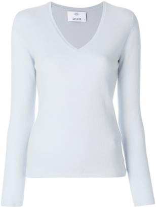 Allude cashmere V-neck knit top