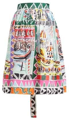 Prada Venice Print High Rise Cotton Poplin Midi Skirt - Womens - Blue Multi