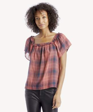 Sole Society S/S Sunset Plaid Square Neck Blouse