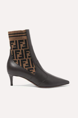 Fendi Rockoko Logo-jacquard Stretch-knit And Leather Ankle Boots - Black