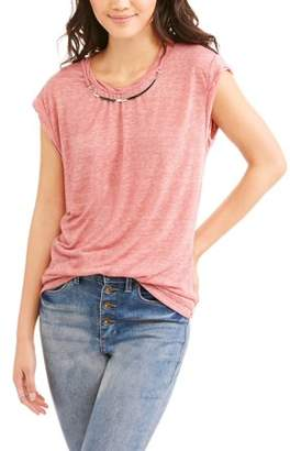 Slinky Poof! Juniors' Twisted Roll Neck Short Sleeve T-Shirt With Necklace 2fer